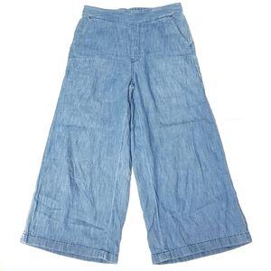 Madewell Atlantic Pull-On Crop Pants Blue Linen XS
